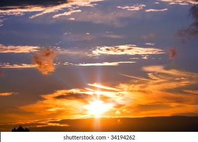 cloudy sky, sunset