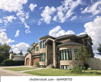 Cloudy sky in urban area with great townhouse, Calgary Canada