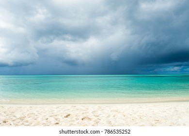 Cloudy and stormy landscape before thunderstorm, Indian ocean, Maldives island