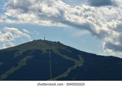 Cloudy summer day on the summit of Kronplatz, a well-known winter ski resort