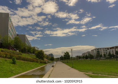 A cloudy summer day in a public park of Karlsruhe