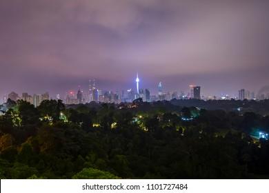 Cloudy sunrise at Kuala Lumpur city skyline