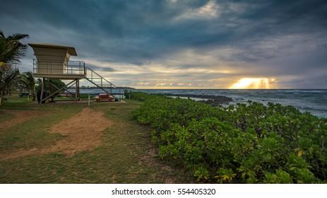 Cloudy sunrise, seen from Lydgate State Park on Kauai, Hawaii