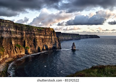 cloudy sunset at Cliffs of Moher, Ireland
