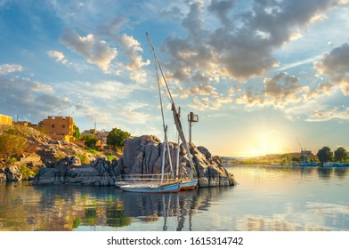 Cloudy sunset on river Nile in Aswan, Egypt