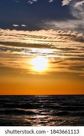 Cloudy sunset on the seashore