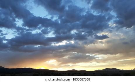 Cloudy Sunset over Rural Nevada Horizon