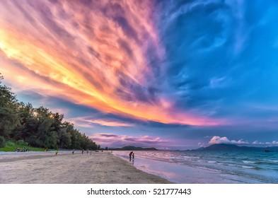 Cloudy sunset scene on a beautiful beach