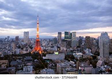 Cloudy TOKYO cityscape with Tokyo tower and Roppongi Hills at dusk