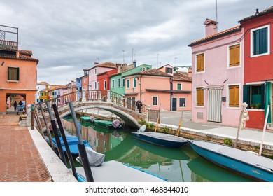 Cloudy view of Burano island, famous Venice landmark, Veneto region, Italy.