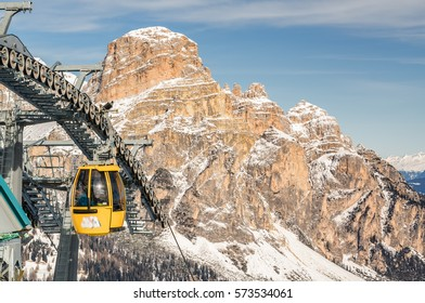Cloudy view of Dolomite Alps near Alta Badia of Val di Fassa, Trentino-Alto-Adige region, Italy.