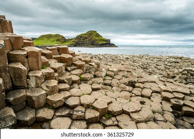 Cloudy weather at Giant's Causeway (Giants Causeway), Antrim, Northern Ireland, United Kingdom