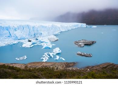 Cloudy weather of Perito marino glacier with mountain at El calafate, Patagonia, Argentina