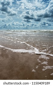 Cloudy and windy summer day by Baltic sea, Liepaja, Latvia.