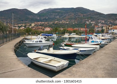 Cloudy winter day in Tivat city, Montenegro. View of Marina Kalimanj
