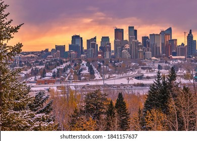 Cloudy winter sunrise over downtown Calgary