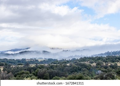 Cloulds and mist over rolling hills in spring time, coastal live oaks in Julian California landscape