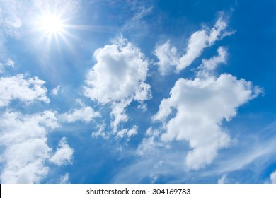 Clound in blue sky and sun for blackground