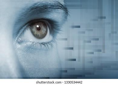 Clouseup shot of the woman's eye. Scanning eye