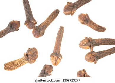 Clove isolated on the white background. Overhead view