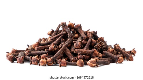 Clove spice slide closeup on a white. Isolated - Shutterstock ID 1694372818