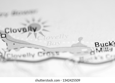 Clovelly Bay. United Kingdom on a geography map