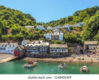 Clovelly charming fishing village on the Atlantic Ocean coast, Devon, England