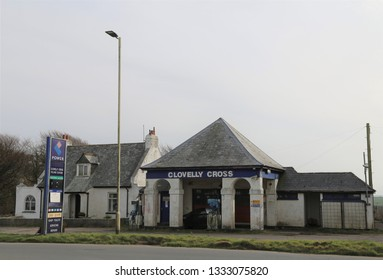 Clovelly Cross, Devon, England, UK.  February 23, 2019. The old garage and petrol station on the main road.