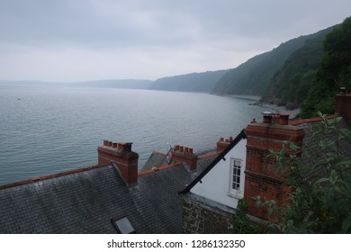 Clovelly. Devon. England. June 9. 2018. View from roof tops.