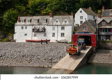 Clovelly, Devon, UK. jULY 2011. A view of Clovelly lifeboat station and lifeboat. Devon