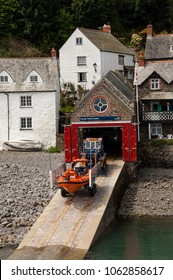 Clovelly, Devon, UK. jULY 2011. A view of Clovelly lifeboat station and lifeboat.
