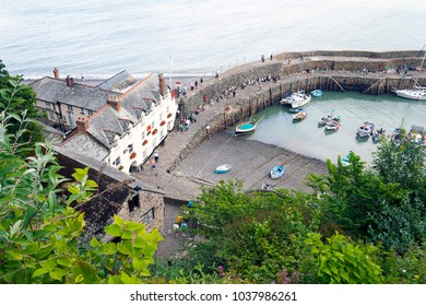 Clovelly, Devon, UK - July 8, 2008: Clovelly harbour from an overhead perspective with tourist
