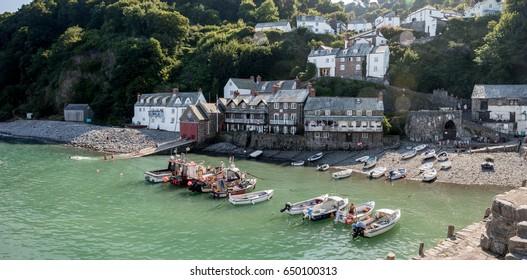 Clovelly harbour in the Torridge district of Devon UK
