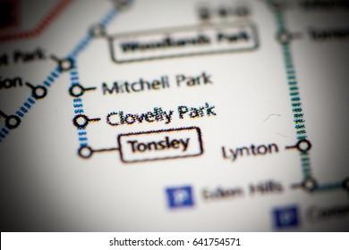 Clovelly Park Station. Adelaide Metro map.