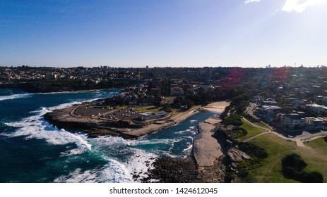 Clovelly, Sydney - June 5, 2019: Drone View of Clovelly Beach