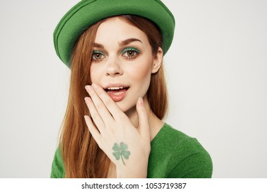 clover, woman with hat, green color, St. Patrick's Day