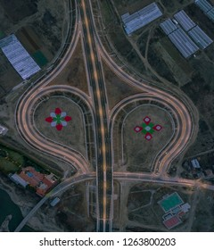 Cloverleaf motorway junction from above - drone photo