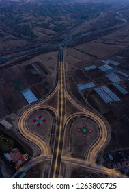 Cloverleaf motorway junction in Europe from above - drone photo