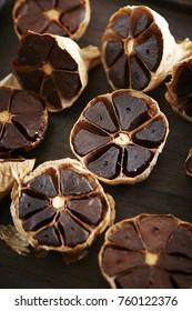 Cloves of black garlic