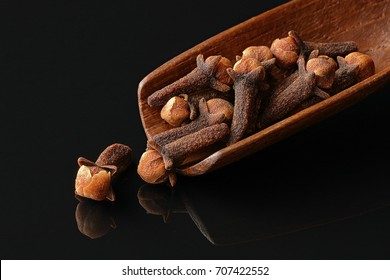 Cloves, Dry Flowers on Wooden Spoon