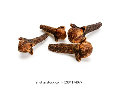 Cloves, dry spice macro isolated on white background, cloves close up.