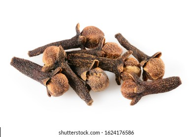 Cloves spice. Some dried cloves, macro close-up Isolated on white background, with a light shadow.