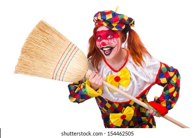 Clown with broom isolated on white