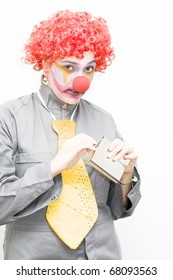 A Clown Is Caught With A Guiltily Expression While Sneaking Out A Hipflask To Have A Quick Alcoholic Drink In A Work Blues Concept