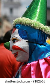 A clown entertains during a festival in Quito, Ecuador