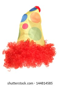 clown fancy dress hat and wig studio cut out