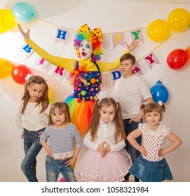 Clown Girl On The Birthday Of A Child Party For Children Play And Entertain