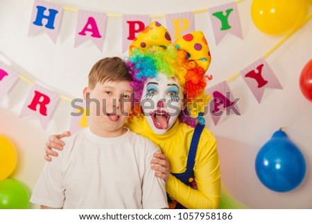 Clown Girl On The Birthday Of A Child Party For Adult