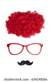 Clown glasses, wig and moustache