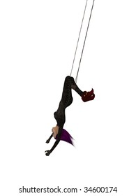 Clown handing upside down on a trapeze on a white background